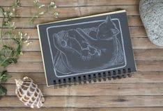 Katze mit von Hand gezeichneter Illustration der neugeborenen Babys Katzenfamilie durch weiße Kreide auf schwarzem Papier Stockbilder