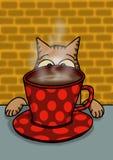 Katze passt seine Kaffeetasse auf lizenzfreie stockbilder