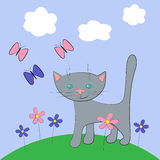 Katze und Basisrecheneinheit Lizenzfreie Abbildung