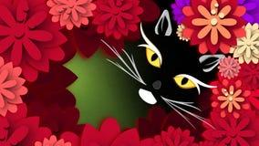 Katze und Blumen Stockfoto
