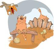 Katze und ein Rabe. Karikatur Lizenzfreie Stockfotografie