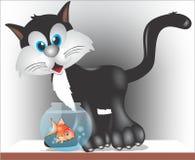 Katze und Fische stockfotos