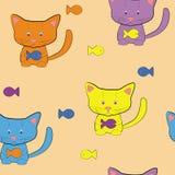 Katze und Fische. Nahtlos Vektor Abbildung
