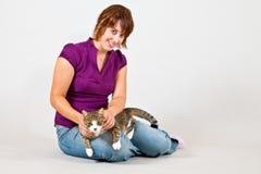 Katze und Frauen Stockfoto