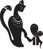 Katze und Geschenk Stockfoto
