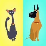 Katze und Hund, die auf verschiedenen Hintergründen sitzen stock abbildung