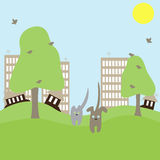Katze und Hund laufen weg von Stadt Lizenzfreie Stockfotografie
