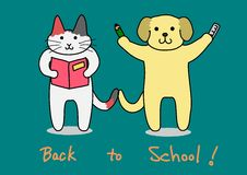 Katze und Hund, zurück zu Schule Lizenzfreie Stockfotos