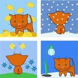 Katze und Jahreszeiten Stock Abbildung