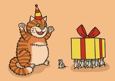 Katze und Maus mit einem Geschenk lizenzfreie abbildung
