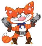 Katze und Revolver Lizenzfreies Stockfoto