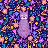 Katze und tropische Blumen lizenzfreie stockbilder