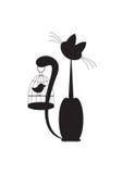 Katze und Vogel Stockfotos
