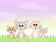 Katze und zwei Kätzchen Lizenzfreie Stockfotos