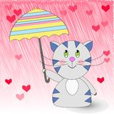 Katze unter dem Regenschirm stock abbildung