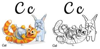 Katze Vektoralphabetbuchstabe C, Färbungsseite Lizenzfreie Stockbilder