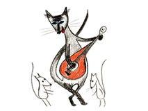 Katze vom Haus, Maus zu tanzen Stockfotografie