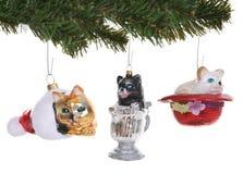 Katze-Weihnachtsverzierungen stockbild