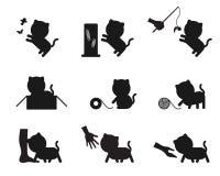 Katze, welche die Aktionsgeschichten-Schattenbildikonen eingestellt spielt Stock Abbildung