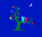Katzen auf Baum Stockbilder