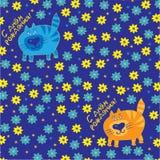 Katzen auf einem blauen Hintergrund mit Blumen Lizenzfreie Stockfotos