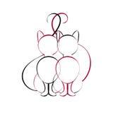 Katzen in der Liebe, die zusammen sitzt Lizenzfreies Stockbild