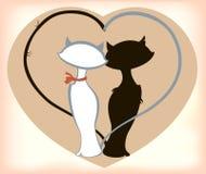 Katzen in der Liebe mit Herzen bis zum St.-Valentinsgruß-Tag Abbildung des Vektor EPS10 Stockfotografie