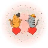 Katzen in der Liebe Romantische Gekritzelillustration Stockfotos