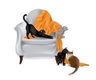 Katzen, die auf Stuhl-weißem Hintergrund spielen lizenzfreie abbildung