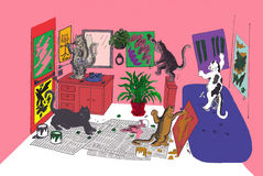Katzen, die malen Lizenzfreie Stockfotos