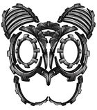 Katzen-Gesichtsdesign Metallroboter Cyber techno Fantasie digitales Lizenzfreies Stockbild