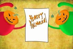 Katzen Halloween-Karten-zwei, die Plakat halten Lizenzfreies Stockfoto