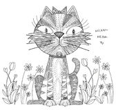 Katzen-Karikaturdesign der Kunst abstraktes Schwarzweiss Stockbild