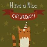 Katzen-Samstag-Postkarte Stockfotos