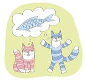 Katzen sprechen über großes Fischen stock abbildung