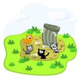 Katzen und Abfallgrube Stockbild