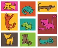 Katzen und Hunde. Lizenzfreie Stockfotos