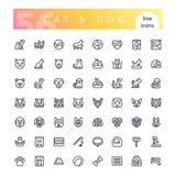 Katzen-und Hundelinie Ikonen-Satz stockfotografie