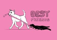 Katzen- und Hundezeichentrickfilm-figuren Illustration der besten Freunde für immer Lustige Skizze der Freundschaft lizenzfreie abbildung