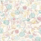 Katzen unter nahtlosem Musterhintergrund der Blumen Stockbild