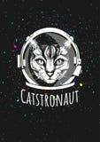 Katzenastronaut im Sturzhelm stockbild