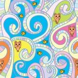 Katzenfisch-Strudellinie nahtloses Muster Stockbild