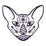 Katzengesichtsvektor Heiliges Tier von altem Ägypten, Katzengesicht mit ägyptischen hieroglyphischen Symbolen Hand gezeichnete Tä stock abbildung