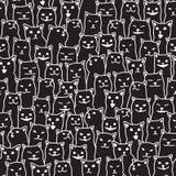 Katzenkätzchenzuchtgekritzel Vektor-nahtloses Muster lokalisierte Tapetenhintergrundschwarzes Stockfotografie