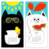 Katzenkalender 2017 Weißer schwarzer Zeichensatz der netten lustigen Karikatur Sommermonat Julis August hallo Eiscreme, gelbe sch Lizenzfreie Stockfotos