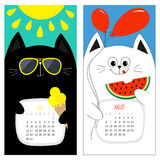 Katzenkalender 2017 Weißer schwarzer Zeichensatz der netten lustigen Karikatur Sommermonat Julis August hallo Eiscreme, gelbe sch Stockfoto