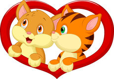 Katzenkarikatur in der Liebe Lizenzfreies Stockbild