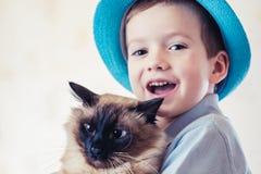 Katzenkindbalinese zusammen spielen Liebeskaukasier stockfotografie