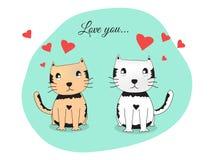Katzenliebhabervektor, Katzenpaar Lizenzfreie Stockfotografie