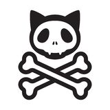 Katzenschädelgekreuzte knochen vector Ikonenlogopirat Halloween-Kätzchenkarikatur-Illustrationssymbol vektor abbildung